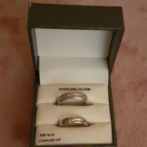 Sterling Silver Wedding Ring Set